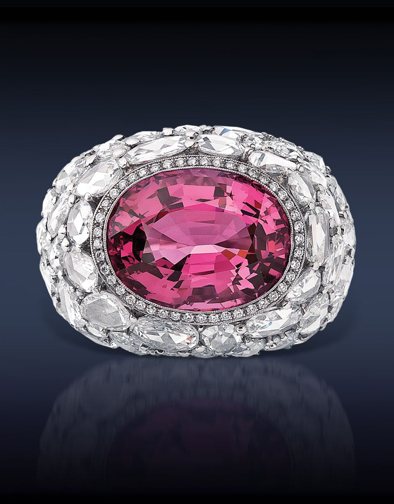 Spinel Cocktail Ring, Featuring: GRS Certified 16.72 Ct Natural Pink Spinel (Center Stone) Surrounded By 12.72 Ct. Rose Cut Diamonds, Mounted In Platinum.