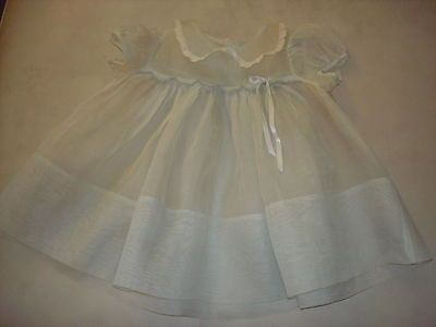Vintage Little Girl Baby Blue Cotton Organdy Dress Exc. Cond. for Your Princess!