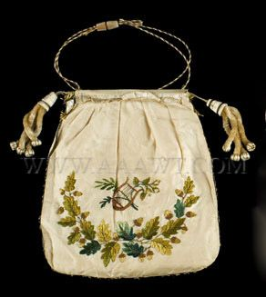 "Embroidered reticule. Silk embroidered on both sides. Minor breaks to silk.  Dimensions: 9.5 by 8"" (not tiny)"