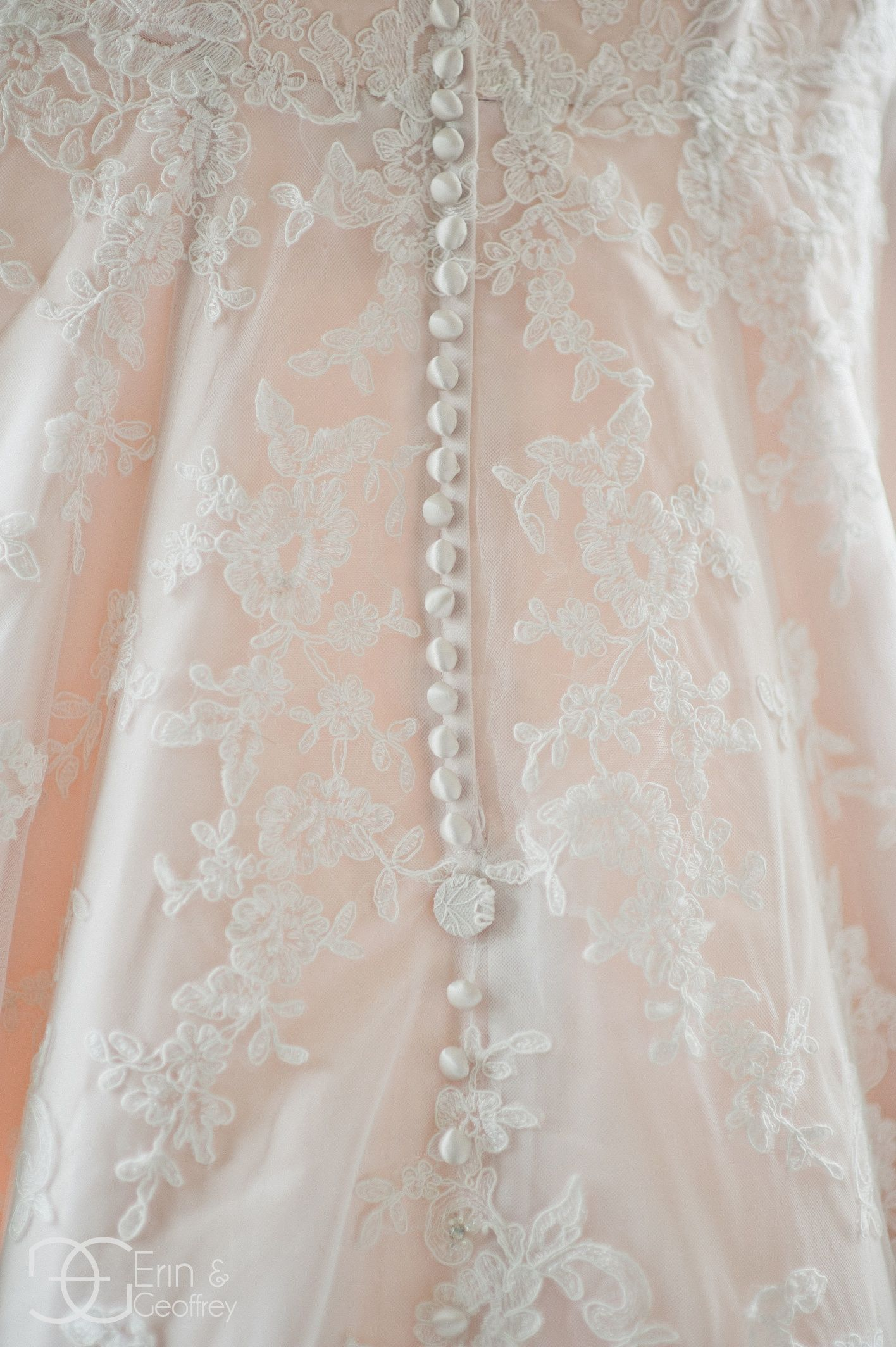 Pink lace wedding dress  Pink Wedding Dress ErinandGeoffrey  too gorgeous with the cream