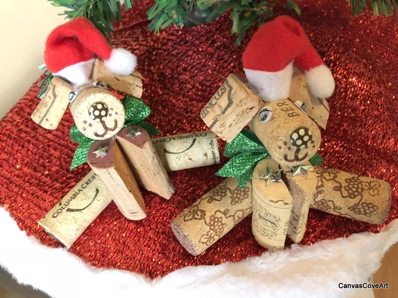 Wine Cork Puppy Dog Christmas Tree Ornaments Set of 2 Green Bows
