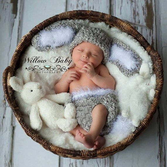 Hoppy Easter!  Baby Hat  Baby Bunny Hat with Big Floppy Ears  Grey and White #cutebabybunnies