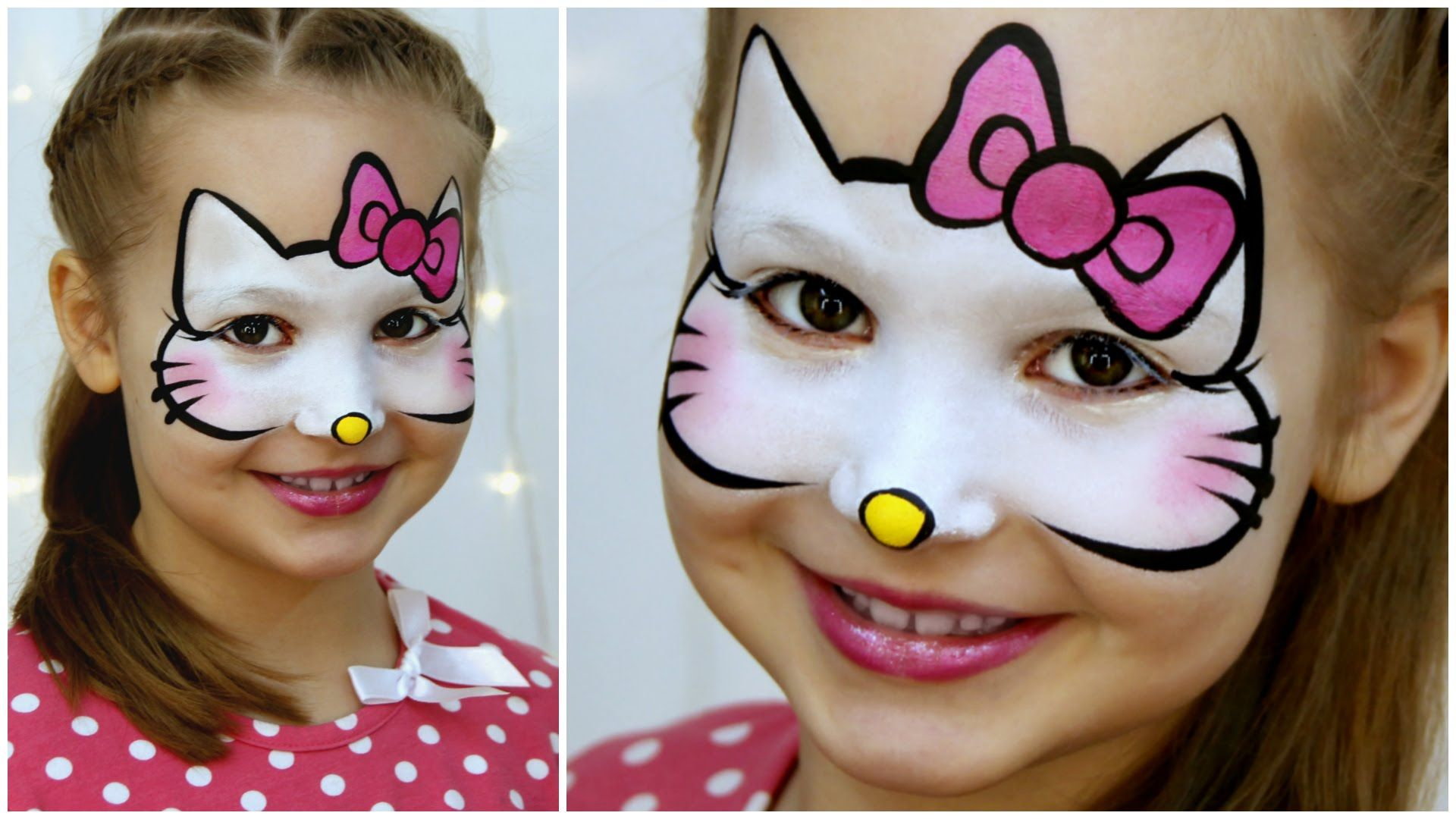 Hello Kitty Makeup For Kids Fast Easy Face Painting Tutorial Hello Kitty Face Paint Hello Kitty Makeup Face Painting Designs