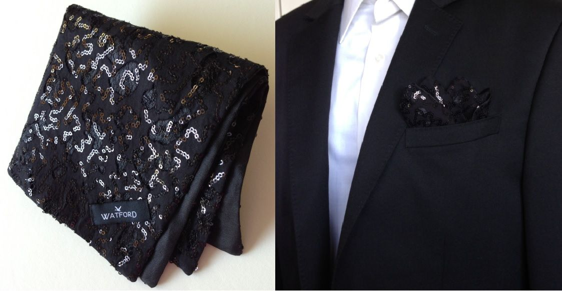 d29b5e003a8ab Black Sequins fabric with Black Satin lining - Pocket Square (Double-sided)