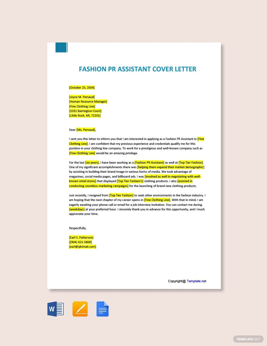 Fashion Pr Assistant Cover Letter Template Free Pdf Google Docs Word Template Net Lettering Cover Letter Template Free Cover Letter Template