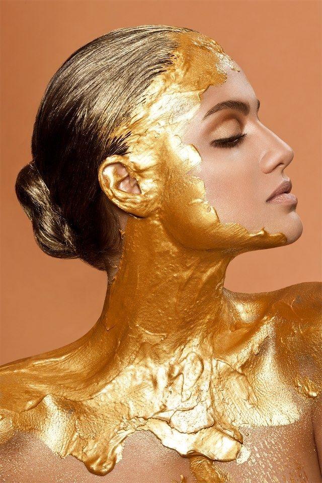 Pin by Kritzl Krazl on Body Art | Gold makeup, Gold bodies ...