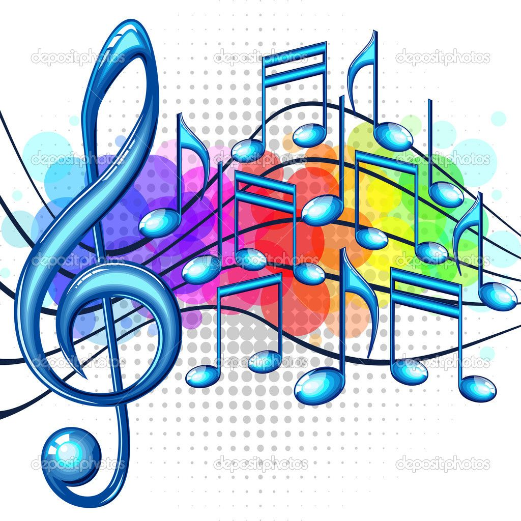 Music notes rainbow. Musical background blue clipart