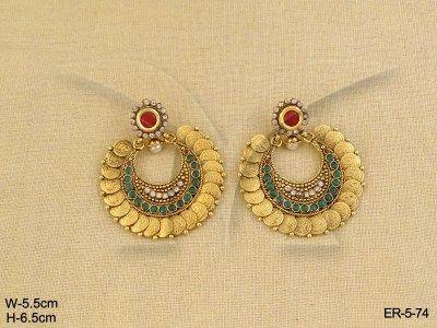 19db5eeb3e70d Manekratna Laxmi Coin Temple Jewellery Earrings | Temple Jewellery ...
