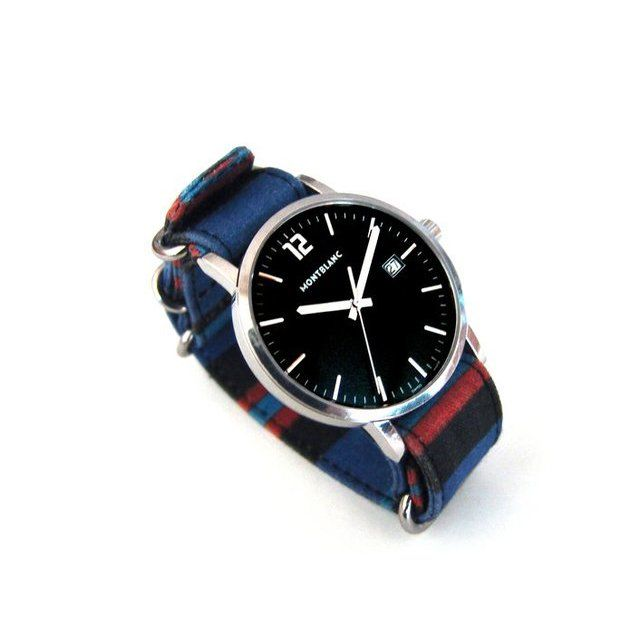 Fancy - Blue/Red Blanket Stripe Watchstrap by Suigeneric NYC
