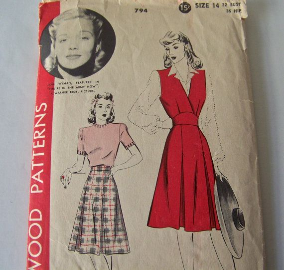 Vintage Ladies Jumper And Skirt Pattern 1930s by CynthiasAttic