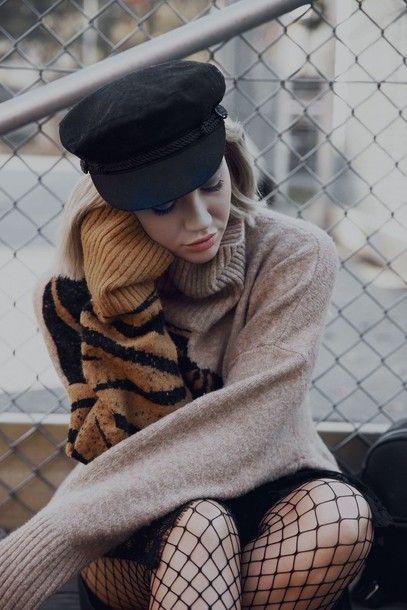 Sweater: tumblr beige dress turtleneck turtleneck net tights hat black hat skirt black skirt