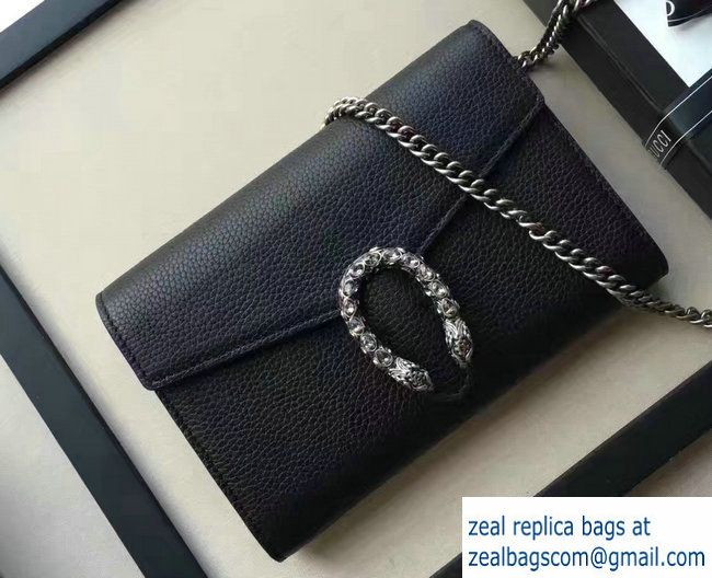9d74e3e47 Gucci Dionysus Leather Mini Chain Wallet Bag 401231 Black 2017 ...