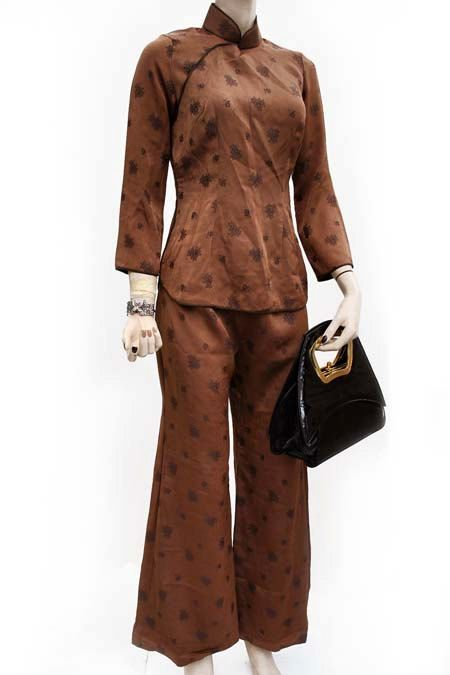 fd689a970 Vintage 1960s Malay brown silk brocade samfoo pantsuit, trousers and ...