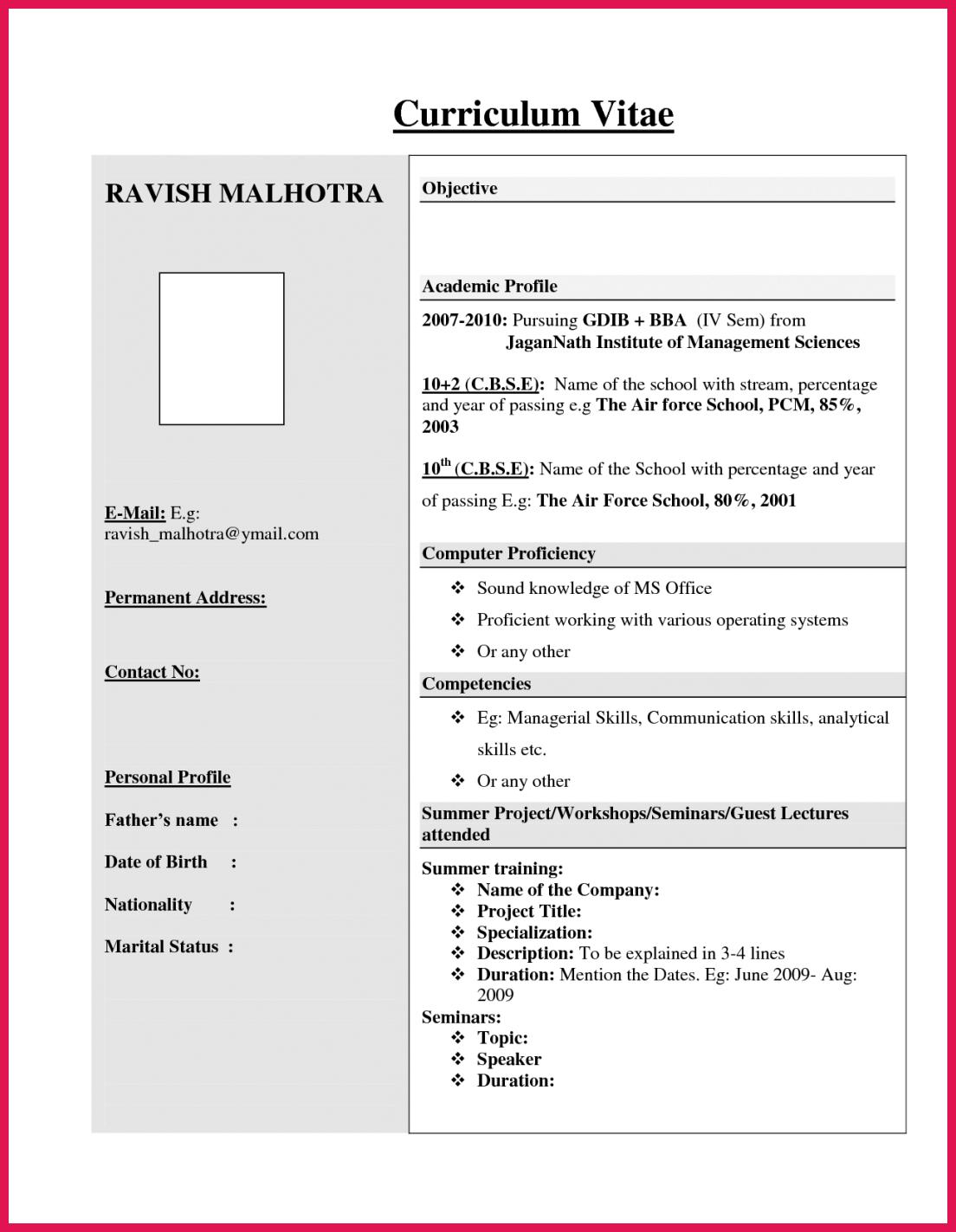 Best Resume Format For Freshers Sop Exles Resume Format For Freshers Resume Format Free Download Resume Format In Word