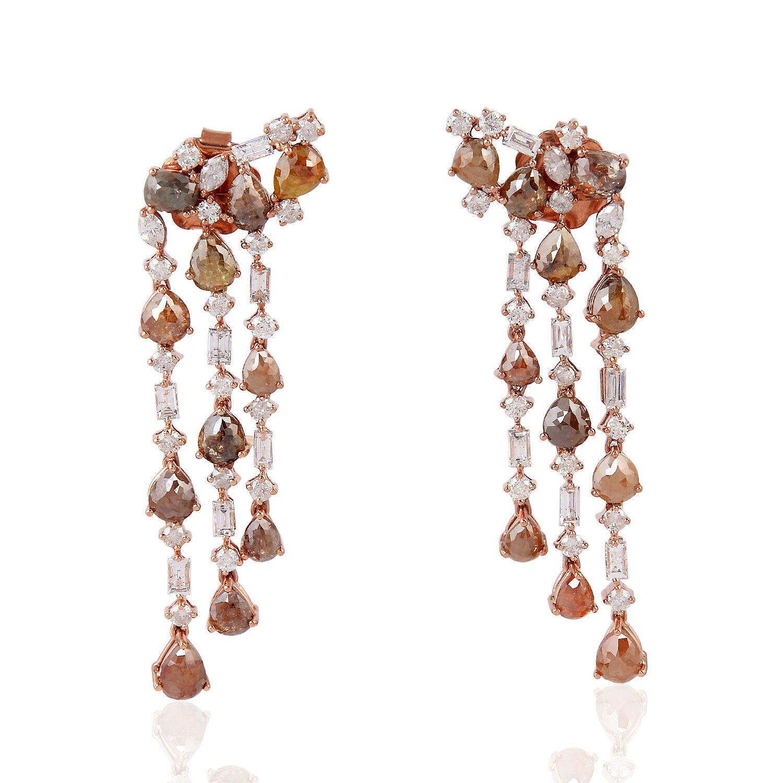 9.85Ct Ice Diamond 18K Gold Chandelier Earrings Women Fashion Gift Jewelry US $3,103.50