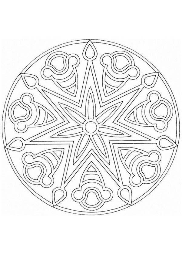 Dibujo Para Colorear Mandala Estrella Y Flor Manualidades