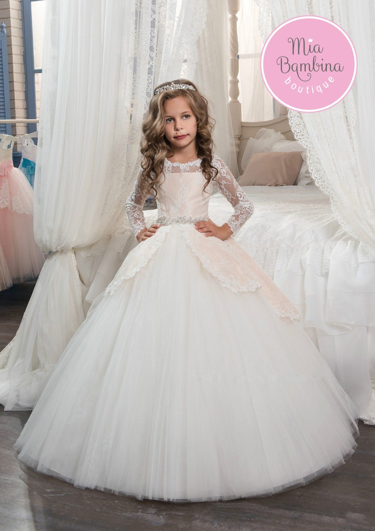 Gorgeous San Antonio junior bridesmaid dress makes a stunning impression  with its intricate lace over satin long sleeved bodice flowing into a  scalloped ... 15a48396f841