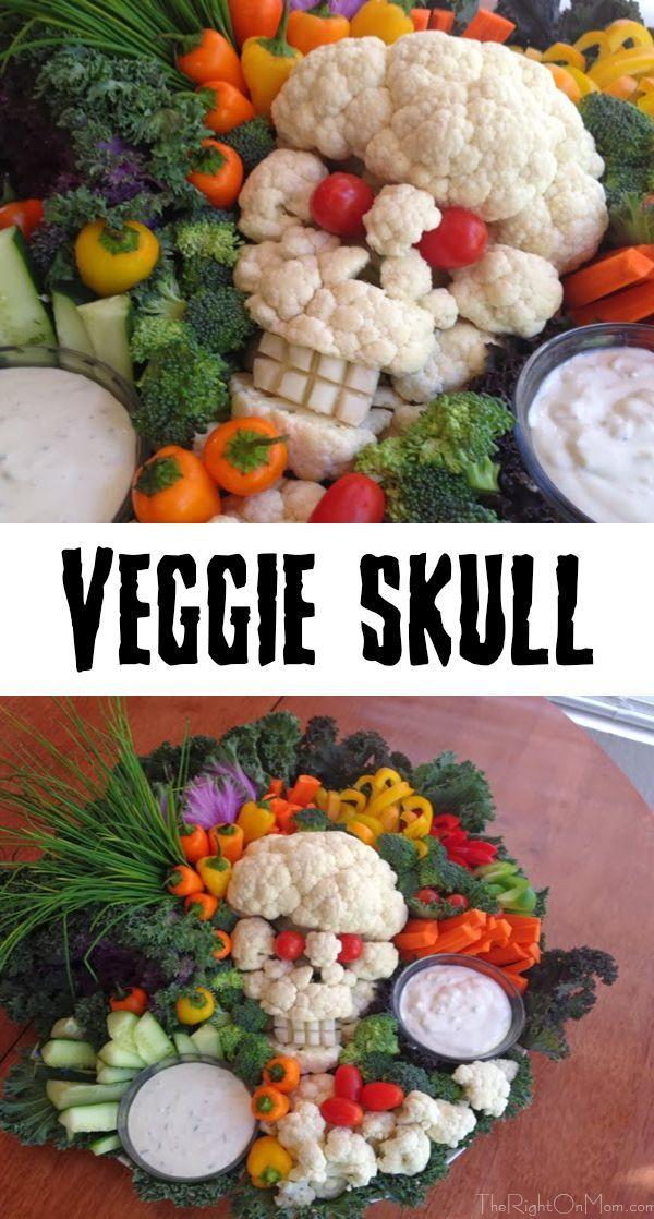 Halloween Veggie Platter - Cauliflower Skull