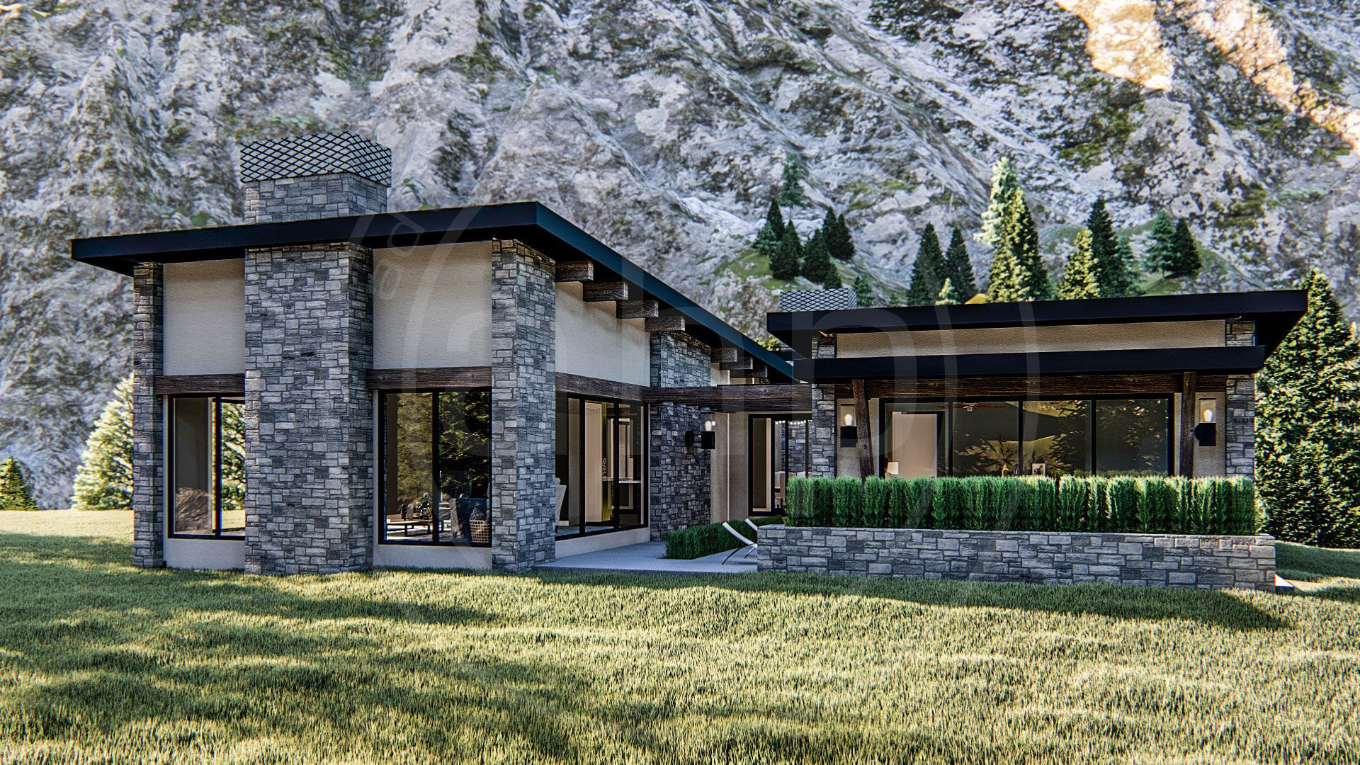 1 Story Modern Mountain House Plan Long Beach Mountain House Plans Mountain Home Exterior Stone House Plans