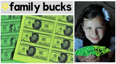 """Family bucks - the kids earn """"bucks"""" for doing chores, playing nicely together, etc and then turn them in for real money or treasures."""