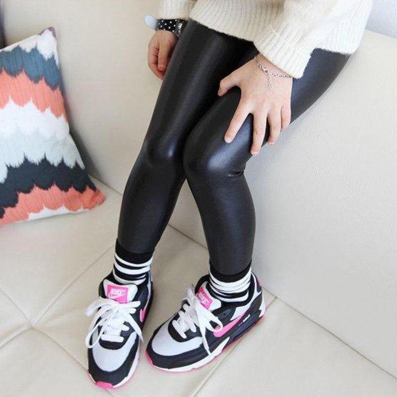 c3b2ce002ab85 Children baby black leather pants for girls kids leggings spring new Korean  slim leggings for 2