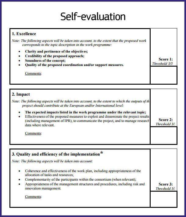 Sample self evaluation essay