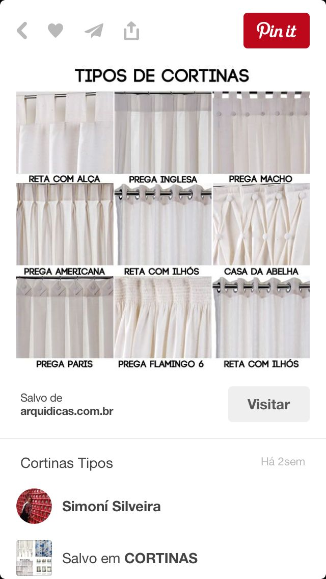 Tipos de cortinas curtain ideas pinterest cortinas - Tipos de cortinas ...