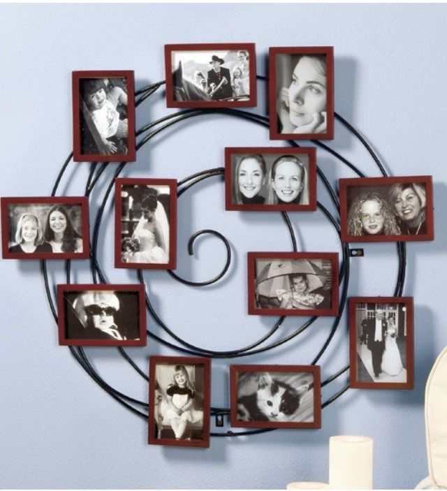 Spiral Photo Frame Picture Wall Collage Black With Cherry brown