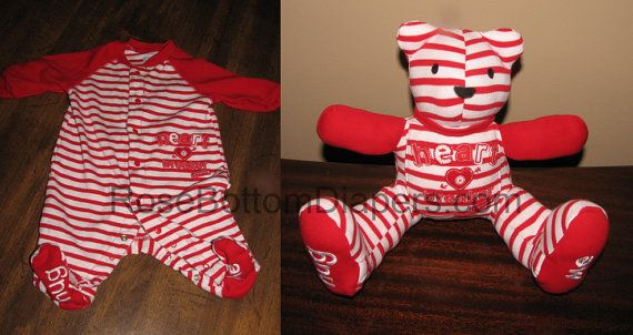 memory bear made out of baby's pajamas by RoseBottomDiapers