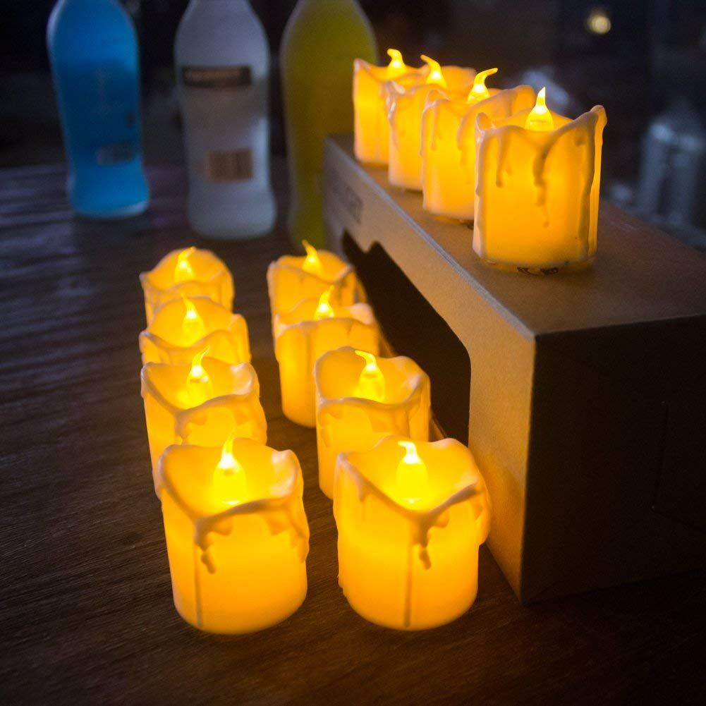 """Set of 4 ... White 7/"""" Resin Flameless Taper Candles with Removable Silver Bases"""
