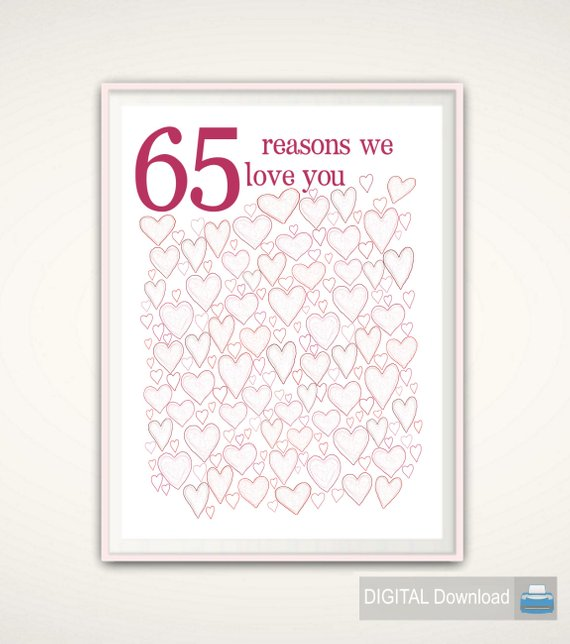 65th Birthday Gift For Women PRINTABLES Mom Posters Decorations Wedding Anniversa