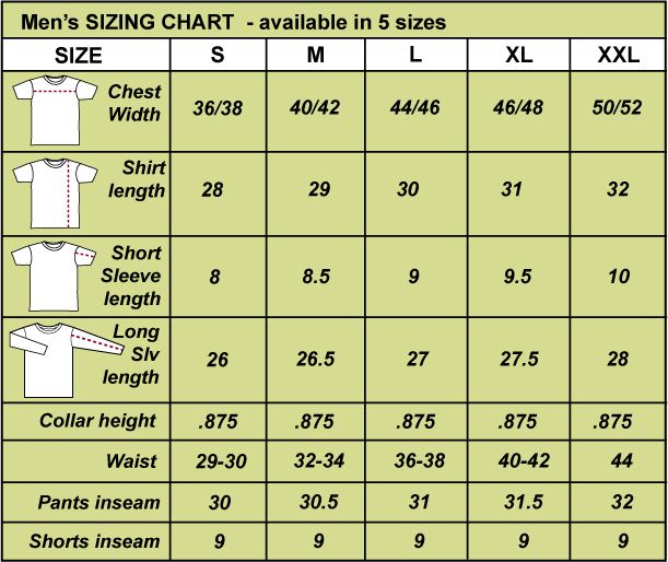Men 39 S Clothing Size Chart Men 39 S Clothing Size Chart