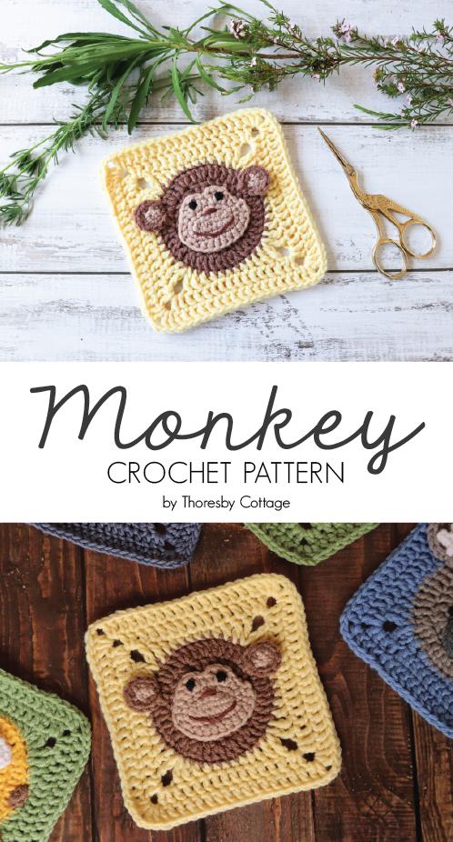 Crochet monkey square pattern