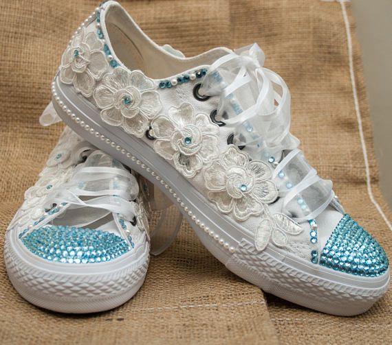 d96d5337f1f Personalizar zapatillas de converse de novia con cristales Tenis Decorados