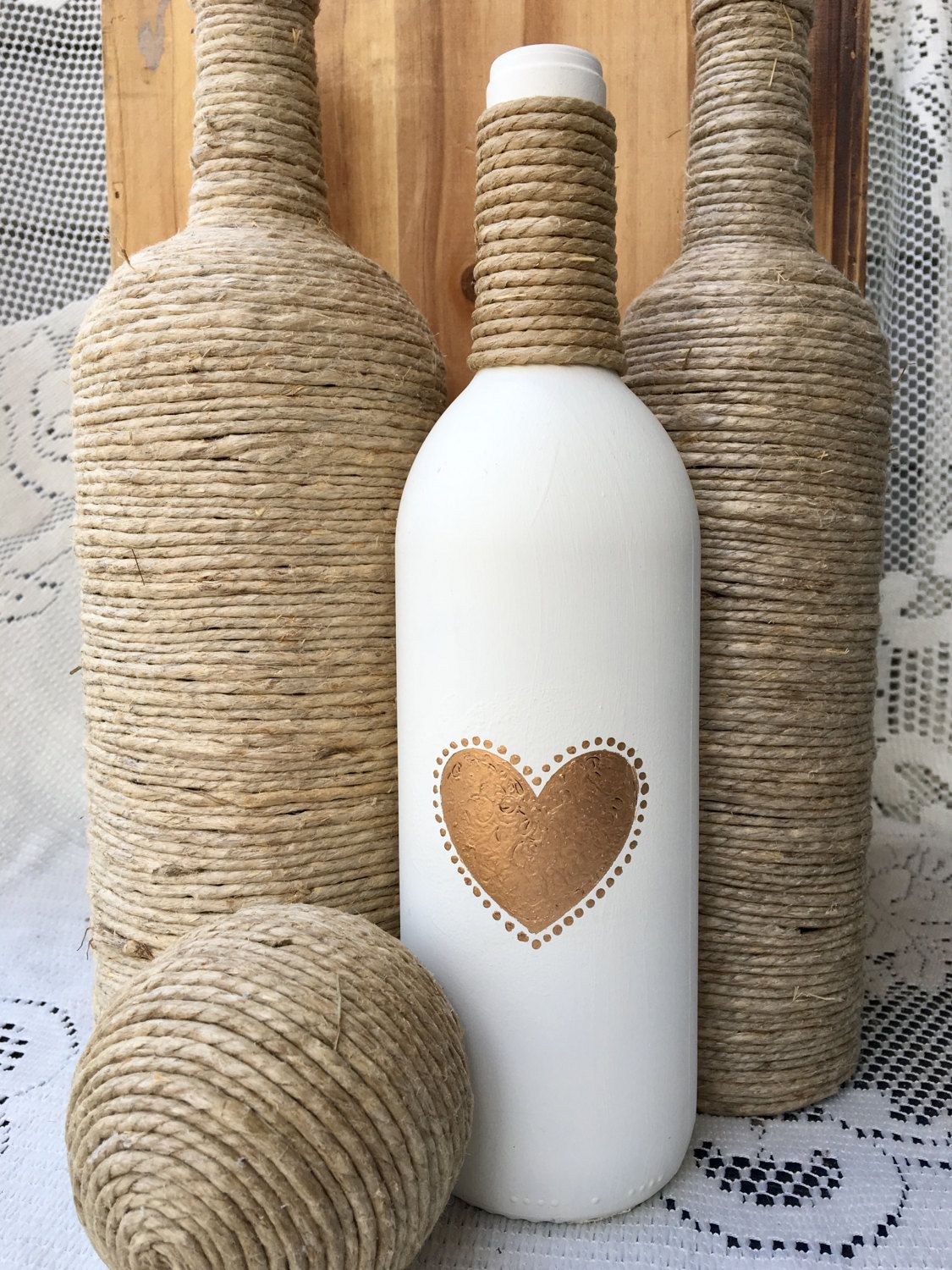 Bottle Decorations Gold Heart Hand Painted Bottle Cream Colored With Twine