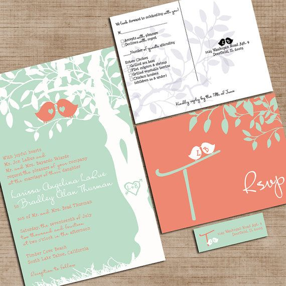 Mint Green and Coral Wedding Invitations Custom Love Birdies