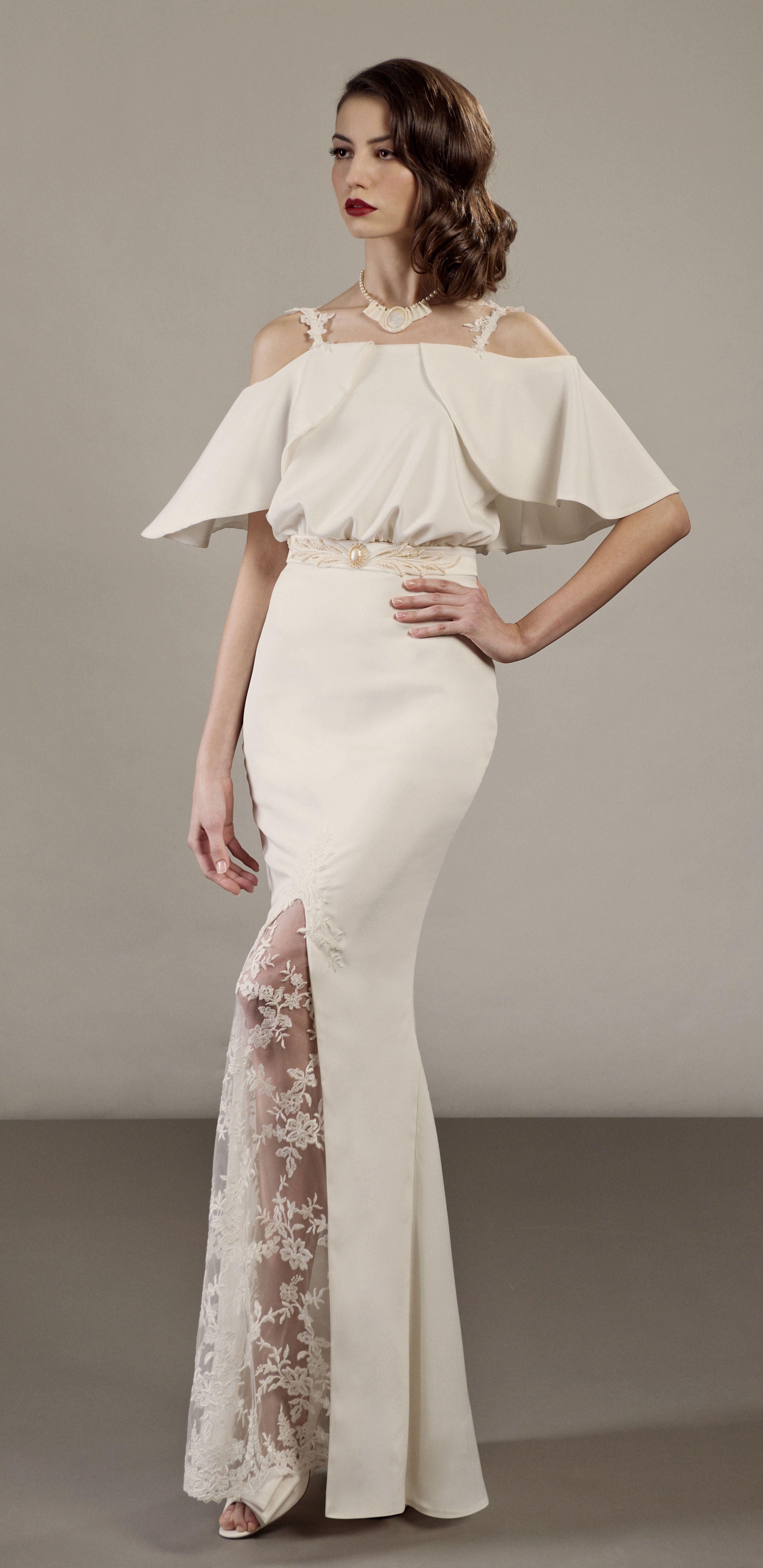 30's silhouette vintage inspired unique wedding dress