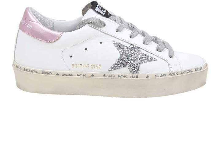 Golden Goose Hi Star Sneakers In White. In White Leather & Silver Pink