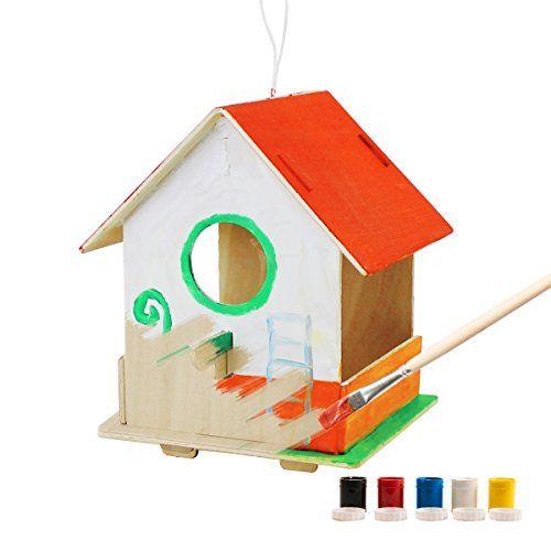 robotime 3D Puzzle en bois \u2013 Nichoir avec peinture Outils Enfant - jeux de construction de maison en 3d