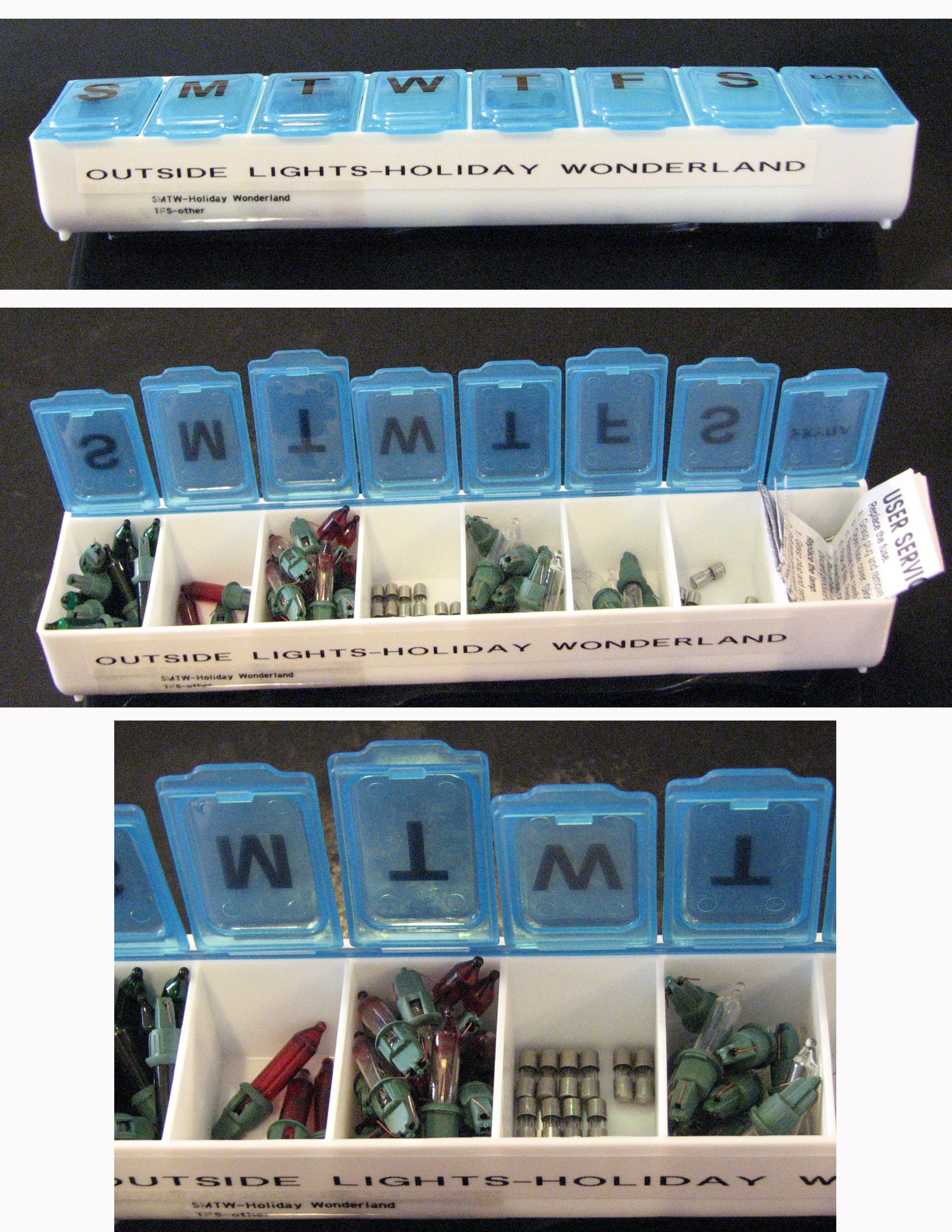 I love this idea! Great idea by my husband - use a pill organizing box to sort and store extra Christmas light bulbs, fuses, brand information & paperwork. By keeping it all in one place, he can easily find the parts he needs to fix the lights!