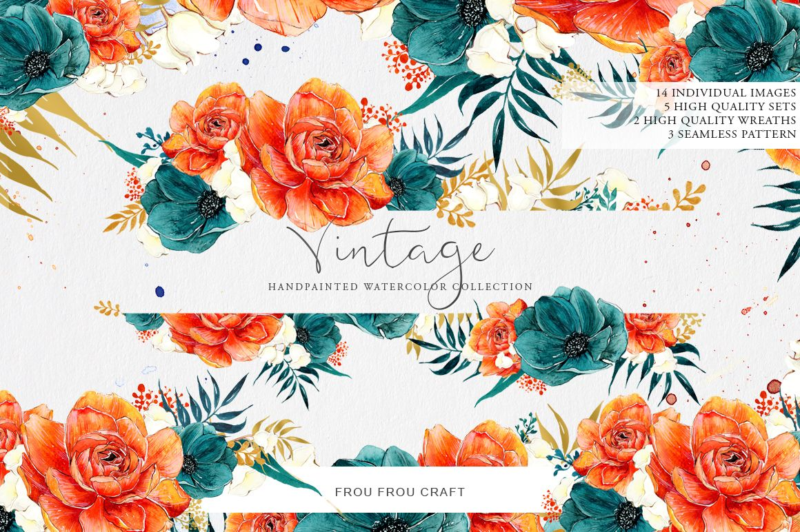 Burnt Orange & Navy Blue Vintage by Frou Fou Craft on @creativemarket