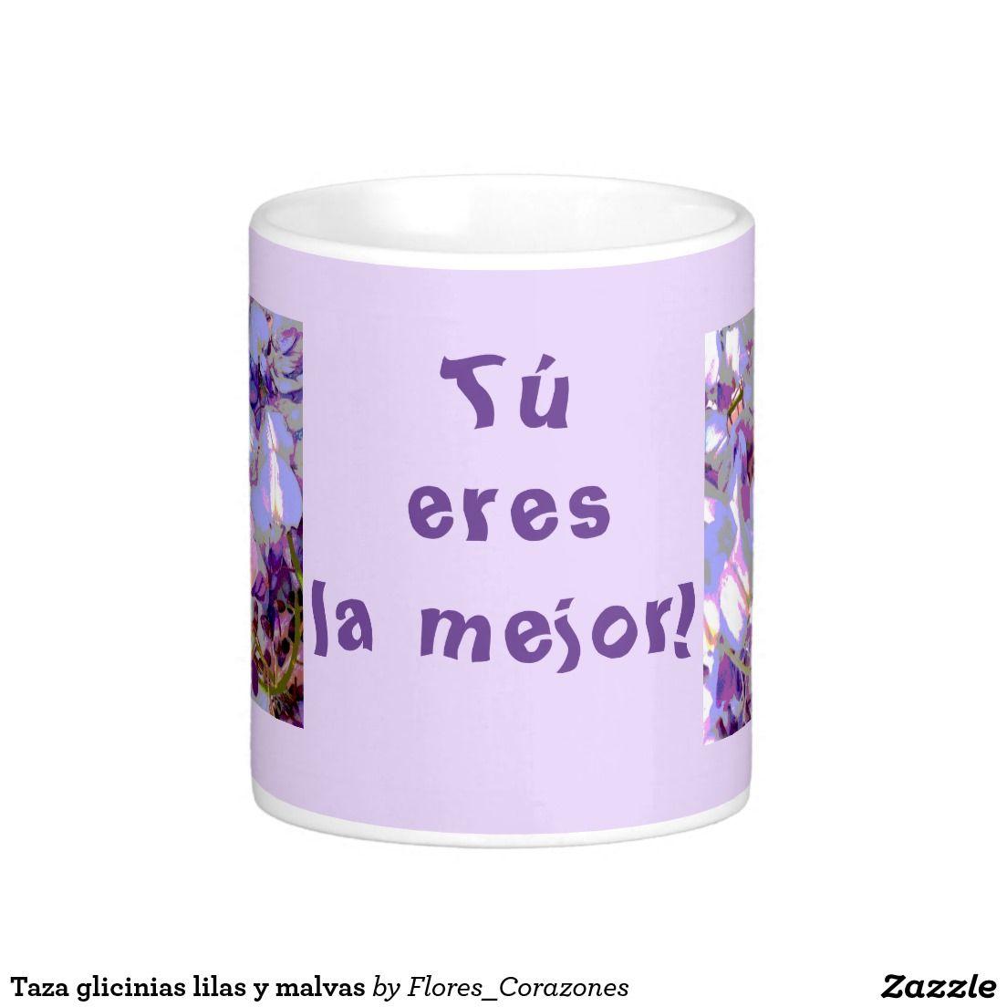 Taza Glicinias Lilas Y Malvas Taza Malva Corazones