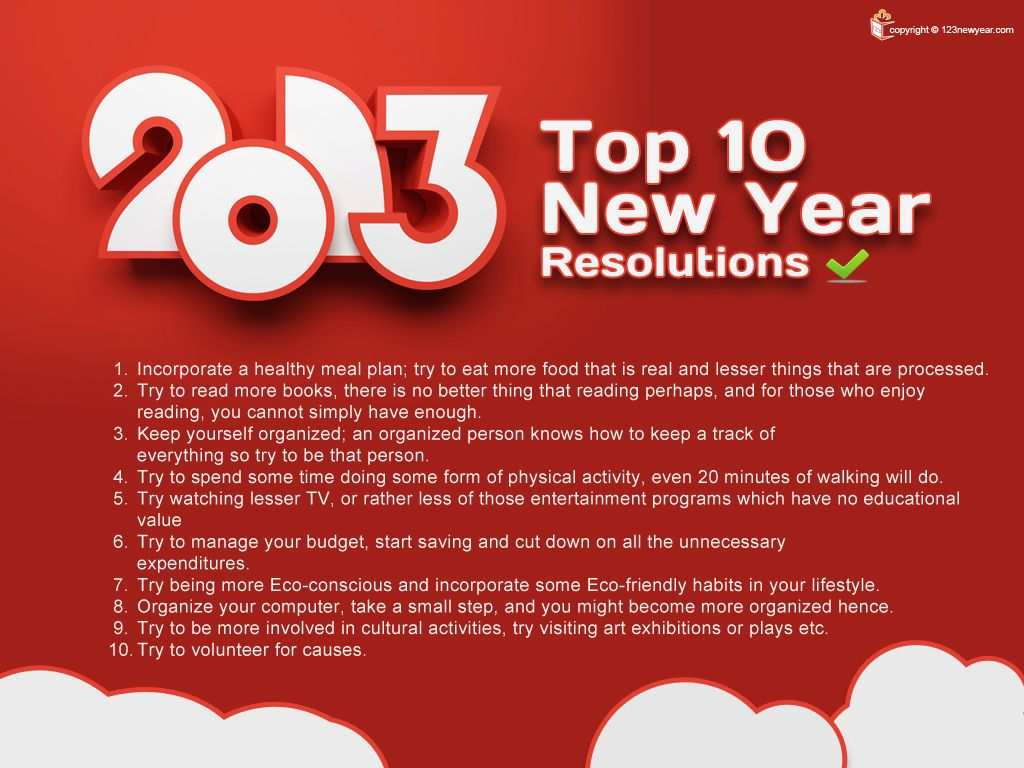 Awesome Top 10 #New #Year #Resolutions For 2013