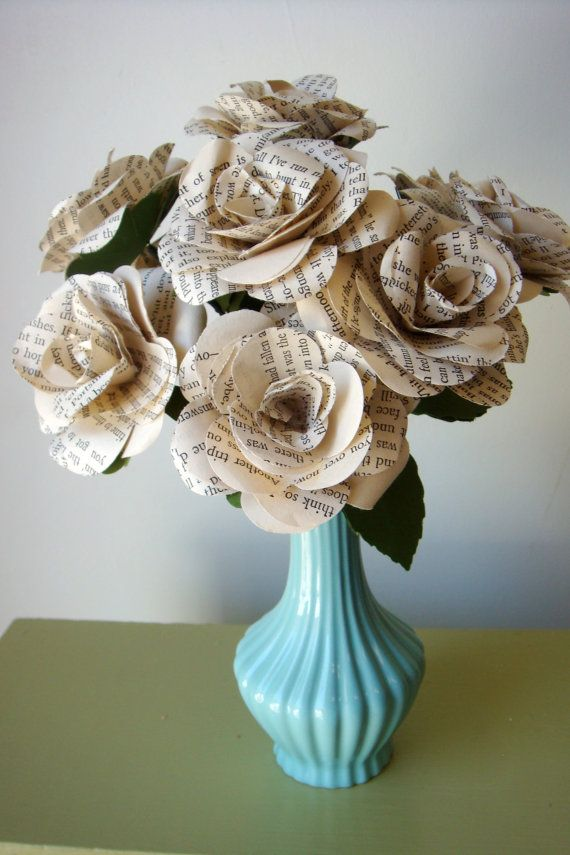 Paper roses made from vintage book pages in a aqua vase mothers day paper roses made from vintage book pages in a by sweetpeasflorals 2500 mightylinksfo