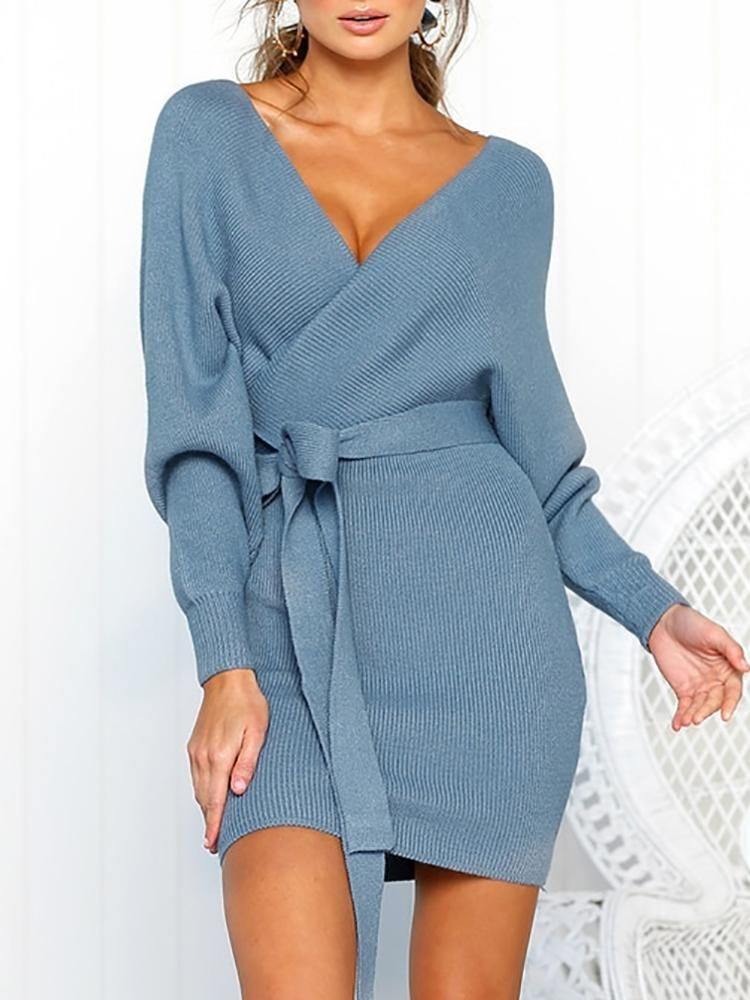 Women Solid Autumn V Neck Plus Size Knit Bodycon Sweater Jumper Maxi Wrap Dress