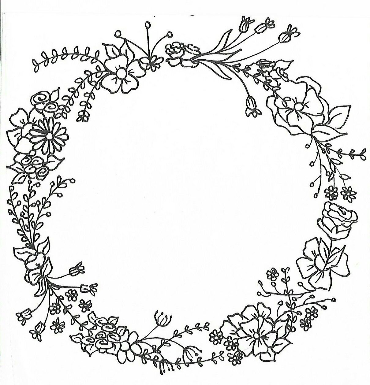 Wreath Mandalas For Paint Hand drawing hand drawn Flowers drawing ...