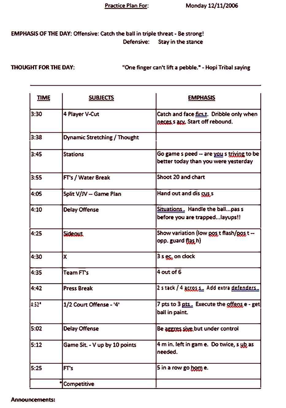 Sample Practice Schedule Template