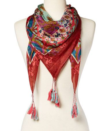 Loving this Turquoise & Green Floral Silk Scarf on #zulily! #zulilyfinds