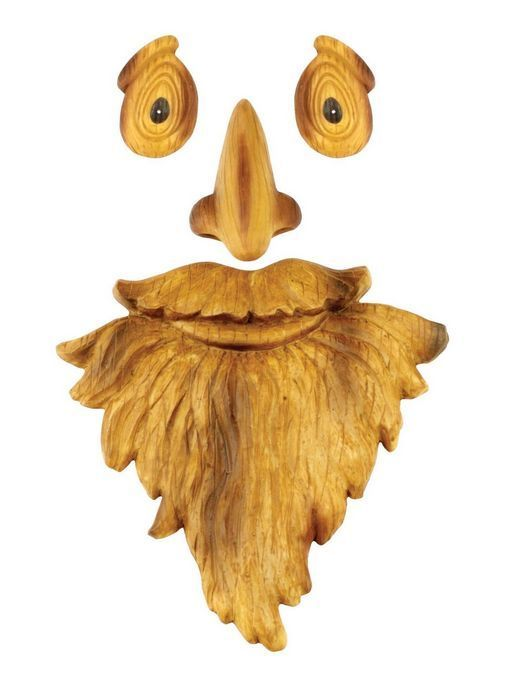 old man face tree decor garden outdoor yard fence mask red carpet