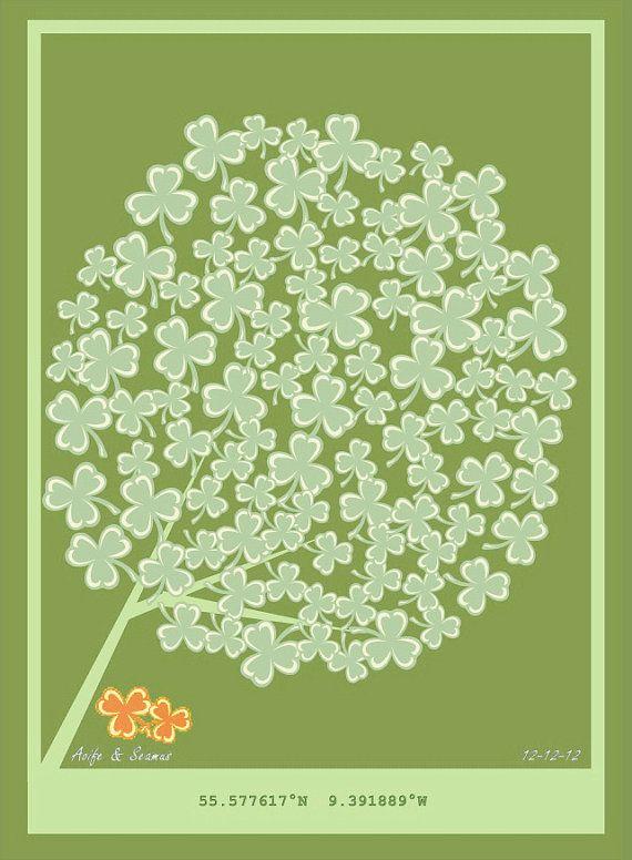 Personalised Wedding Tree Large Print  - IRISH SHAMROCKS - 150 signatures - Guestbook Alternative - Made in Ireland via Etsy